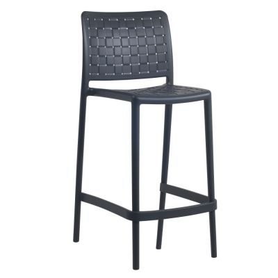 Fame Polypropylene Stacking Mid-Height Bar Chair in Anthracite