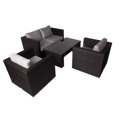 Denby Classic Rattan Sofa Set with Glass Coffee Table