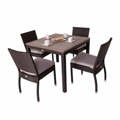 Classic Rattan Square Polywood Table and 4 Ascot Side Chairs