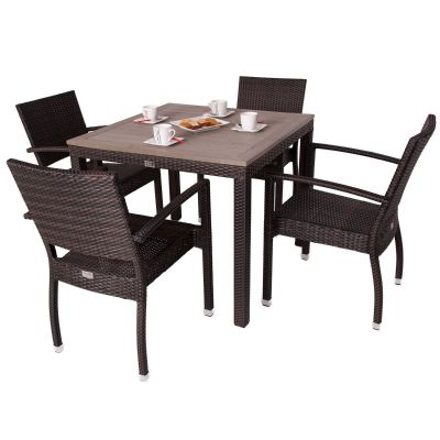 Classic Rattan Square Polywood Table and 4 Ascot Arm Chairs