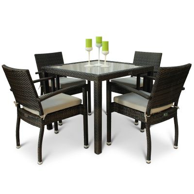 Classic Rattan Square Glass Table and 4 Ascot Arm Chairs