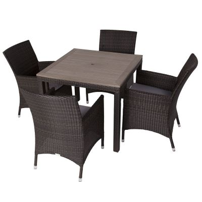 Classic Rattan Square Polywood Table and 4 Newbury Chairs
