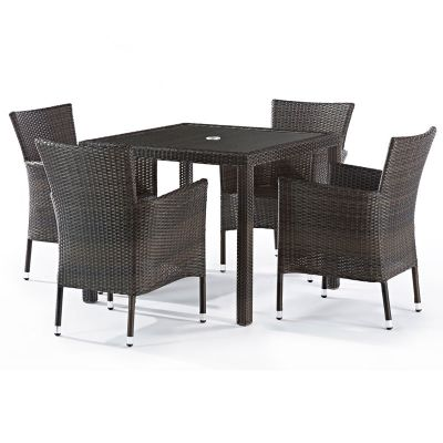 Classic Rattan Square Glass Table and 4 Newbury Chairs