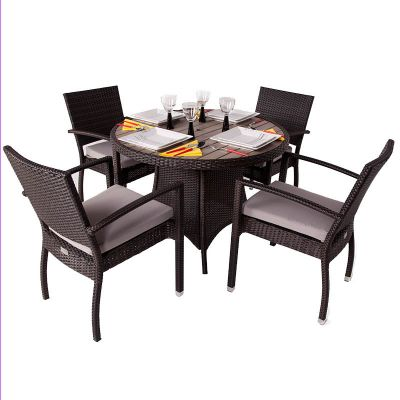 Classic Rattan Round Polywood Table and 4 Ascot Arm Chairs