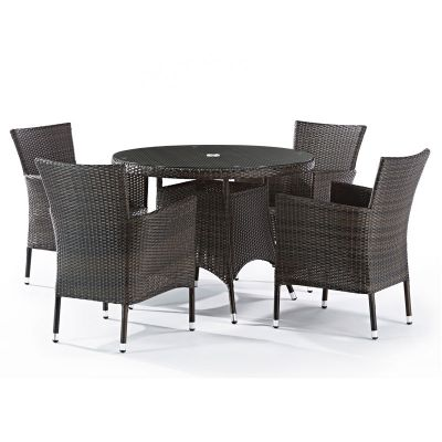 Classic Rattan Round Glass Table and 4 Newbury Chairs