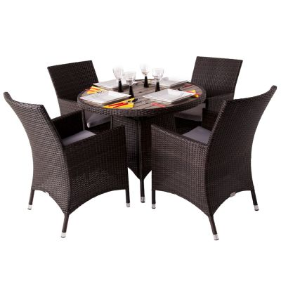 Classic Rattan Round Polywood Table and 4 Newbury Chairs