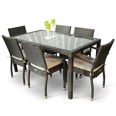 Classic Rattan Rectangular Glass Table with 4 Ascot Arm Chairs and 2 Ascot Side Chairs