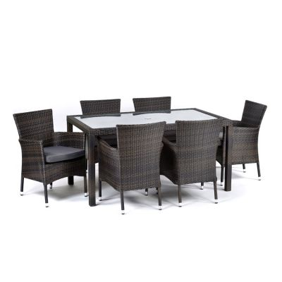 Classic Rattan Rectangular Glass Table and 6 Newbury Chairs