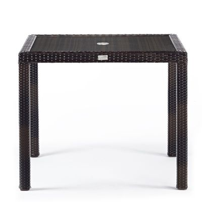 Classic Rattan Square Glass Dining Table