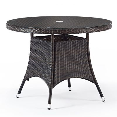 Classic Rattan Round Glass Dining Table