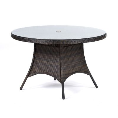 Classic Rattan Large Round Glass Dining Table