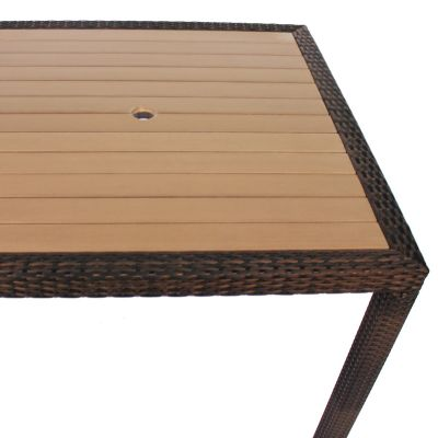 Classic Rattan Large Square Polywood Dining Table