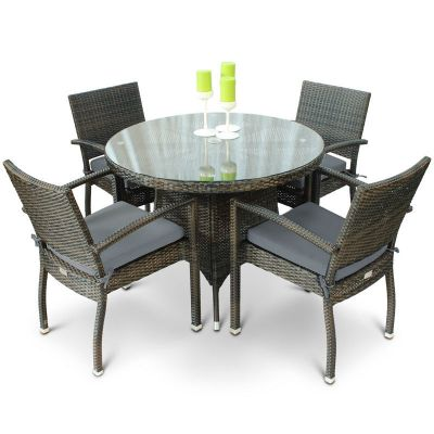 Classic Rattan Round Glass Table and 4 Ascot Side Chairs with Cushions