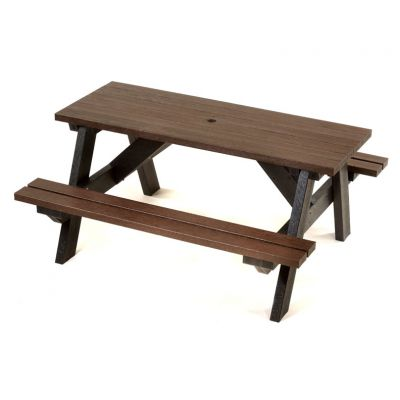 100% Recycled Plastic 6 Seat A Frame Commercial Black & Brown Picnic Table