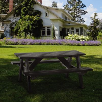 100% Recycled Plastic 6 Seat A Frame Commercial Black Picnic Table