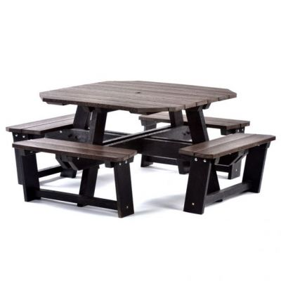 100% Recycled Plastic 8 Seat Square Commercial Black & Brown Picnic Table