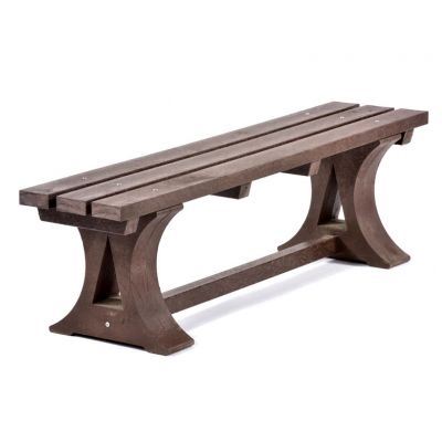 100% Recycled Plastic 3 Seat Backless Brown Bench