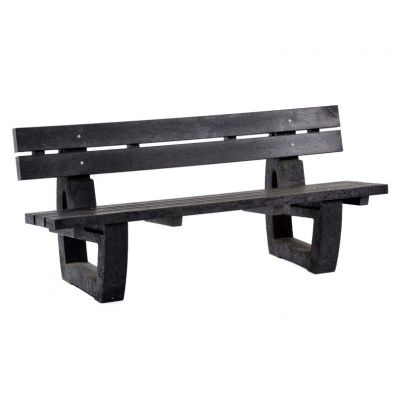100% Recycled Plastic 4 Seat Black Bench