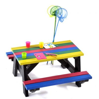 100% Recycled plastic 6 seat A frame commercial infant rainbow picnic table