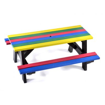 100% Recycled plastic 6 seat A frame commercial junior rainbow picnic table