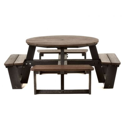 100% Recycled Plastic 8 Seat Round Commercial Black & Brown Picnic Table