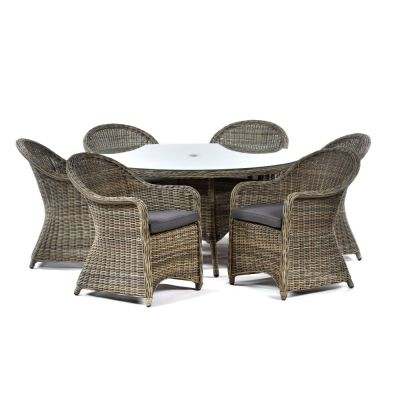 Regent Rattan Large Round Glass Table and 6 Arm Chairs