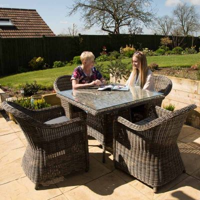 Regent Rattan Square Glass Table with 4 Arm Chairs