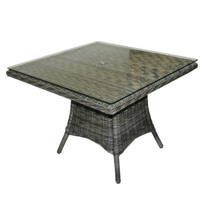 Regent Rattan Square Glass Dining Table