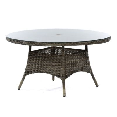 Regent Rattan Large Round Glass Dining Table