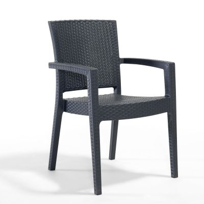Madrid Rattan Effect Polypropylene Stacking Arm Chair