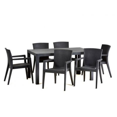 Rattan Style Polypropylene Garden Set - Weather Resistant Material Highly Durable - 6 Arm Chairs Included 150 x 90 Table (Anthracite)