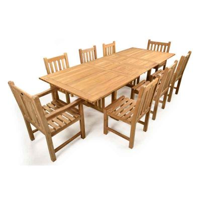 Berrington Grade A Teak Table with 6 Warwick Side Chairs and 2 Warwick Arm Chairs