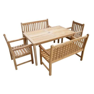 Warwick Grade A Teak Rectangular Table with 2 Benches and 2 Arm Chairs