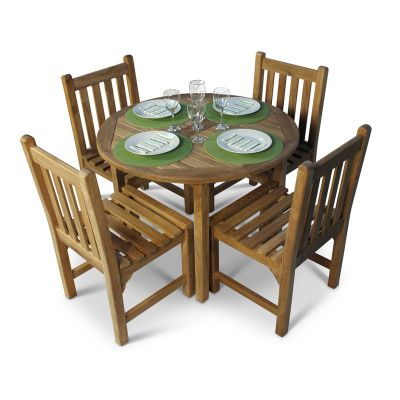Grade A Teak Round Table and 4 Warwick Side Chairs