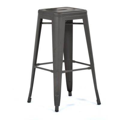 Tolix Style High Stool Gun Grey
