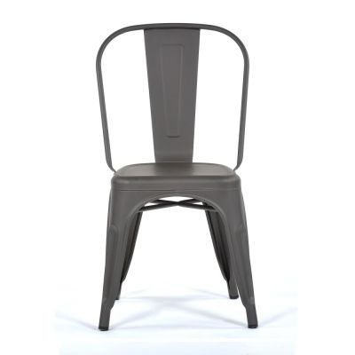Tolix Style Chair Gun Metal Grey
