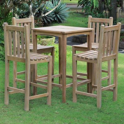 Warwick Grade A Teak Bar Table and 4 Bar Chairs